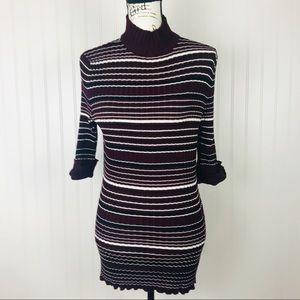 Style & Co. Red/Black Striped Half Sleeve Sweater